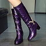 Junjie Winter Damen Strass High Heel Lackleder Stiefel Slip-On Mittelrohr Stiefel Martain Fersenschuhe Warm Halten Schuhe Schwarz, Rot, Lila 35-43