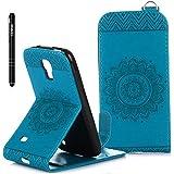 Slynmax Mandala Flip Tasche Slynmax Hülle Kompatibel mit Samsung Galaxy S4 Mini i9190 Hülle Weich Kunstleder Fordable Ledertasche Brieftasche Lederhülle Slim Handyhülle Klapphülle mit Stand Karte,Blau