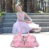 Balletttasche für Mädchen Farbe pink für Ballett Tanz Fitness Sport Gymnastik Tanztasche Sporttasche Mädchen Tragegriffe-Stickerei