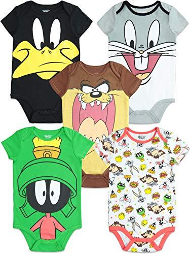 Warner Bros. Looney Tunes Strampler, Kurzarm Body für Jungen und Mädchen, 5er Set, Neugeborene