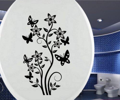 autocollants abattant WC Toilettes Fleurs enlacent Autocollant Papillon Toilette Fleur 3C-058 - Rouge brillant, 25cm