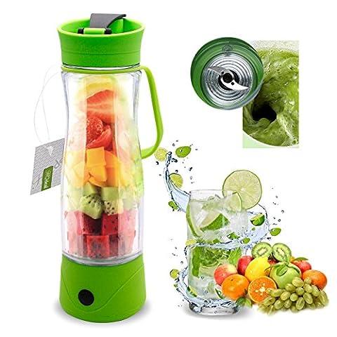 HQdeal Neue Generation Mini Saftpresse Elektrischer Entsafter Power Juicer 350ml für Obst Gemüse Mischer Sportflasche für Kaffee Milch