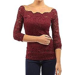 Tkiames Mujeres Camisetas Manga Larga Blusas de Encaje Flores Lace Crochet sin Tirantes Camisas Shoulder Off Lace Shirt (S, rojo 2)
