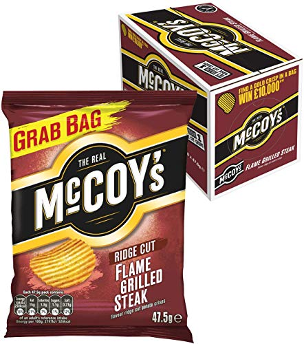 McCoy's Ridge Cut Crisps, Multipack Box of Flavoured Potato Crisp snacks, 36 x 47.5g – Flame Grilled Steak