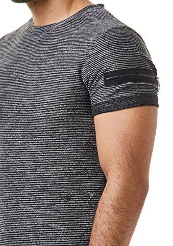EightyFive Herren T-Shirt Basic Regular Gesteppt Gerippt Zipper Schwarz Weiß Beige EFT17 Schwarz
