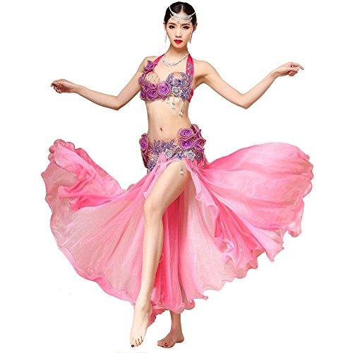 Bauch Tanzen Performance Frau Handmade Diamant Perlen Blume Bh Rock Safe Kurze Hose Modern Trainieren Kostüm . Pink . One Size (One Night Stand Kostüm Mädchen)