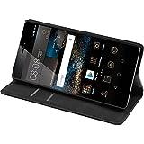 PhoneNatic Kunst-Lederhülle für Huawei P8 Book-Case schwarz Tasche P8 Hülle + 2 Schutzfolien