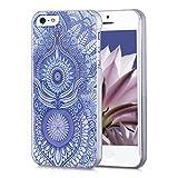 kwmobile Cover per Apple iPhone SE / 5 / 5S - Custodia Rigida Trasparente per Cellulare - Back Case Cristallo in plastica Blu/Bianco
