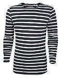Herren Longsleeve aus Bio-Baumwolle mit Querstreifen in Kontrastfarben Blau und Weiß oder Weiß und Slub Mid Heather Grey- Langarm Bio Tshirt mit Rundhalsausschnitt, l (L, Weiß/Navy)