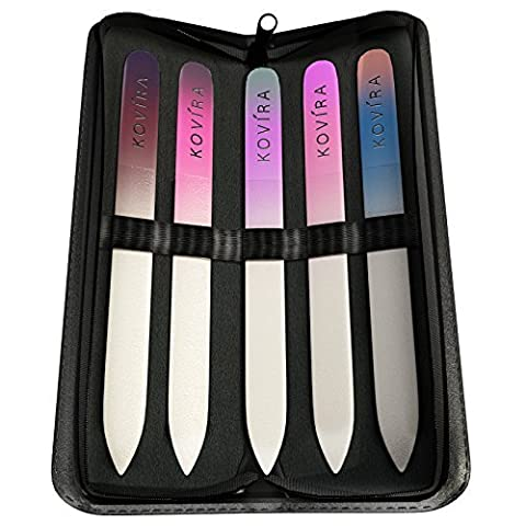Nail Files - Glass Nail File with Protective Case - Double Sided Premium Finger Nail File Set - Pedicure Crystal Nail File - Manicure Nail File and Buffer
