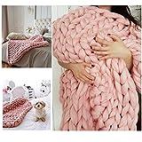 WAWEN Handarbeit stricken wolle chunky riesige woll gestrickte sofa decke haustier decke handgemachte große decke dekoration geschenk Hell Pink 24