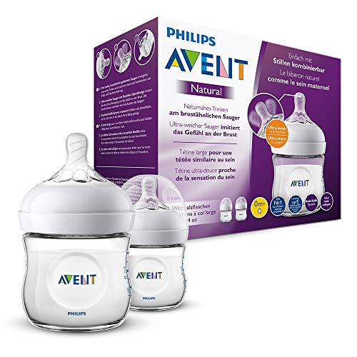 Philips Avent SCF030/27 - Biberón natural de 125 ml, Pack de 2 biberones, transparente