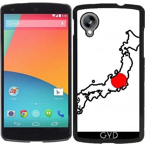 Coque pour Google Nexus 5 - Japon Carte De Drapeau by Cadellin