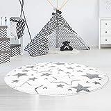 carpet city Kinderteppich Flachflor Hochwertig Bueno mit Konturenschnitt, Glanzgarn mit Sternen-Muster, Sterne in Creme, Größe 160x160 cm Rund