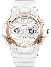 fomtty Blanco Mujer Reloj analógico para mujer niña Digital Reloj de pulsera reloj deportivo impermeable militar reloj despertador Fecha Watch LED de alarma para mujer Relojes (Color Blanco)