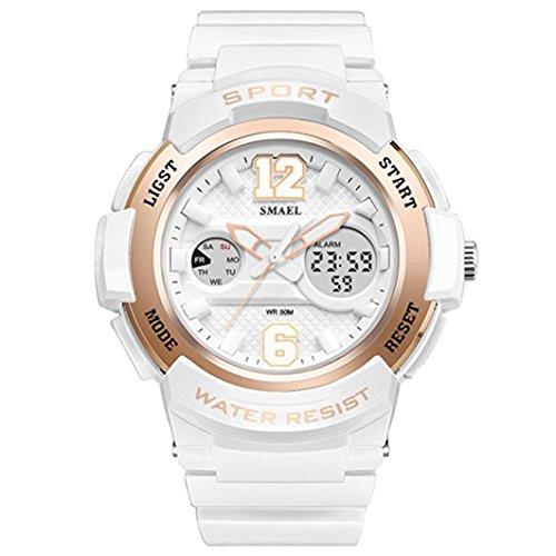 Fomtty Weiss Damenuhr Damen Mädchen Analog Digital Armbanduhr Sportuhr Wasserdichte Militär Uhr Wecker Datum Alarm Watch LED für Damen Uhren (Weiß)