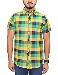 Kuons Avenue Green, Yellow & Black Checks Half Sleeve Casual Party Shirt