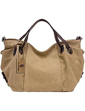 Damen Handtasche Schultertasche Canvas Tasche Umhängetasche Shopper Groß - 42/35/18 cm (B*H*T)