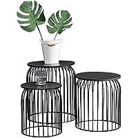 [en.casa]®] Set de 3 cestas de Metal Elegantes de diseño - Mesa Auxiliar/Mesa de Centro Metal - Negro