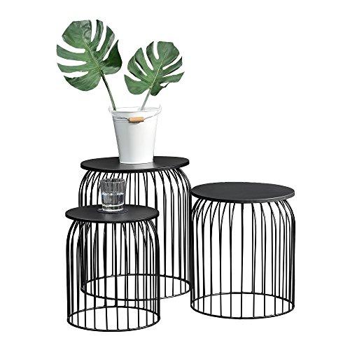 [en.casa] Stylischer Metallkorb im 3er Set - Design Beistelltisch/Couchtisch Schwarz Metall