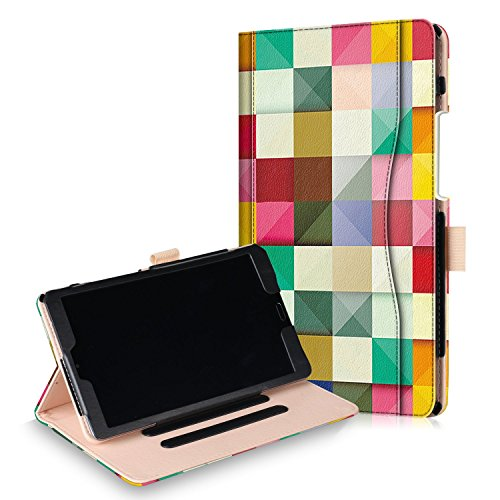 Xuanbeier Huawei MediaPad M5 8.4 Hülle Ultra Slim Leichtgewicht Leder Ständer Schutz Hülle mit Auto Sleep/Wake Funktion für Huawei MediaPad M5 8,4 Zoll Bunter Würfel