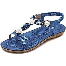 Mosstars Sandalias Mujer Verano 2019 Planas Zapatos Planos Mujeres Bohemia Lady Girls Rhinestone Beads Sandalias Zapatos