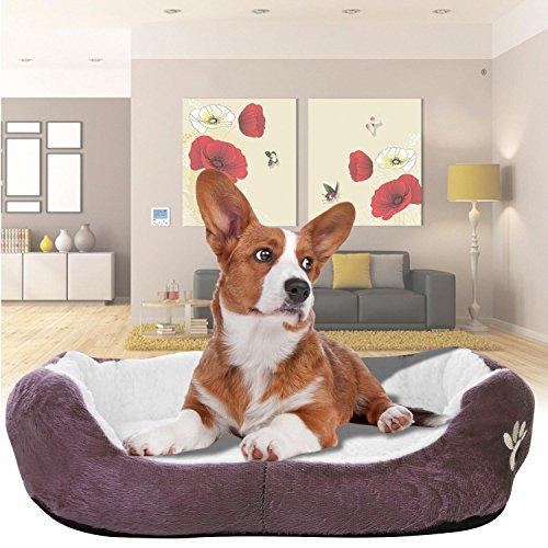 Beautytalk Hundebetten Hundesofa warme Decke mit umkehrbare Kissen aus Lammfell für Hunde Katzen, kaffee (DE Lager)