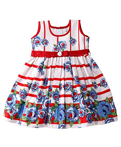 Mom's Girl Frock Red And White floral casual girls dress cotton with bow (6-12 Months)
