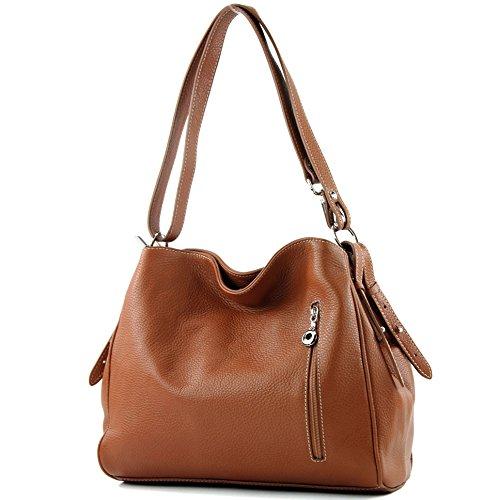 modamoda de - ital. Ledertasche Damentasche Umhängetasche Tasche Schultertasche Leder T119, Präzise Farbe:Cognac