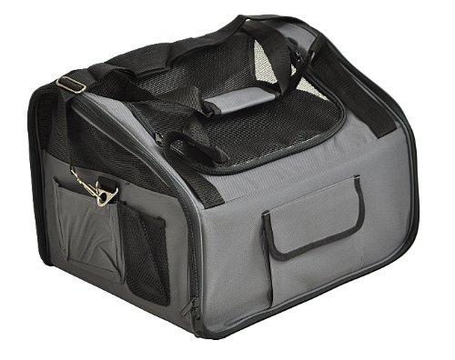 nanook Auto Transporttasche, Tier-Tragetasche, 43 x 37 cm, für kleine Hunde, Katzen und Nager, Farbe: anthrazit