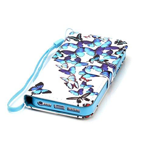 MOONCASE IPhone 5 / 5S / iPhone SE Étui, [Dreamchaser] Dessin Motif Bookstyle PU Cuir Flip Housse Etui à rabat Portefeuille TPU Case Cover avec Strap Lanière pouriPhone 5G / 5S / SE Butteflies