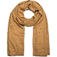 styleBREAKER elegant scarf with pearl application in white and silver, winter scarf, stole, women 01017074, color:Camel