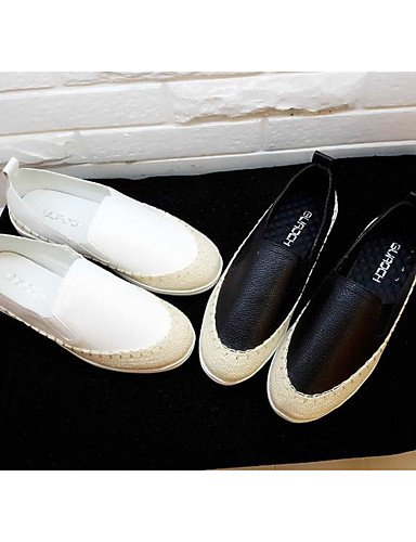ZQ Scarpe Donna Finta pelle Piatto Punta arrotondata Mocassini Casual Nero/Bianco , white-us8 / eu39 / uk6 / cn39 , white-us8 / eu39 / uk6 / cn39 black-us6 / eu36 / uk4 / cn36