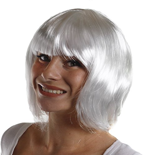 ILOVEFANCYDRESS ADULTS THICK QUALITY BOB WIG - 20S STYLE PARTY COSPLAY SHORT WIG AVAILABLE IN 12 WHITE BOB WIG