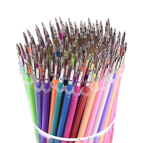 130 recharges de couleurs - scintillement métallique de pastel de fluorescence de néon, recharges stylo d'encre pour des livres de coloriage pour des adultes, Scrapbooking, dessin