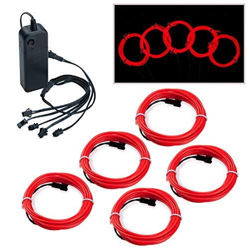 Covvy Wasserdicht Flexibel 5 * 1Meter Neon Beleuchtung Lichtschlauch Leuchtschnur EL Kabel Wire mit 3 Modis für Disco Party Kinder Halloween Kostüm Kleidung Weihnachtsfeiern (Rot)