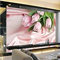 Lqwx El Papel De La Pared Foto Salón Rosa Rosa Fondo De Televisión Estereoscópica Flor Romántico Dormitorio Mural Papel Tapiz Para Paredes 3 D 350Cmx245Cm