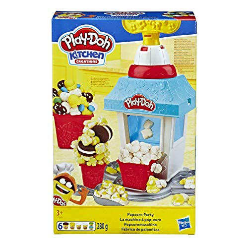 Play-doh- kitchen creations popcorn party set con 6 vasetti di pasta da modellare, multicolore, e5110eu5