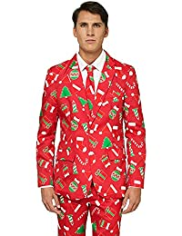 Offstream Christmas Suits for Men in Different Prints – Ugly Xmas Sweater Costumes Include Jacket Pants & Tie