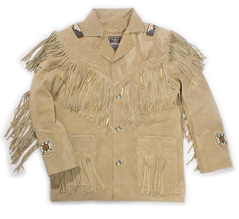 Western kansas veste avec doublure en daim avec franges décoré