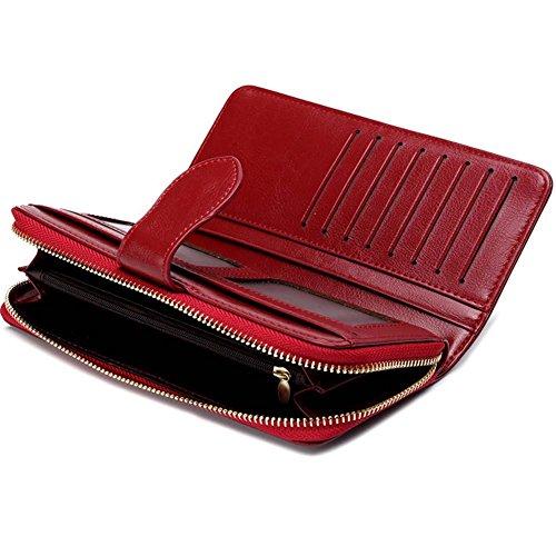 Donne Portafoglio,YOBOKO lusso raccoglitore del cuoio genuino delle donne con la chiusura lampo Pocket Rose Violet