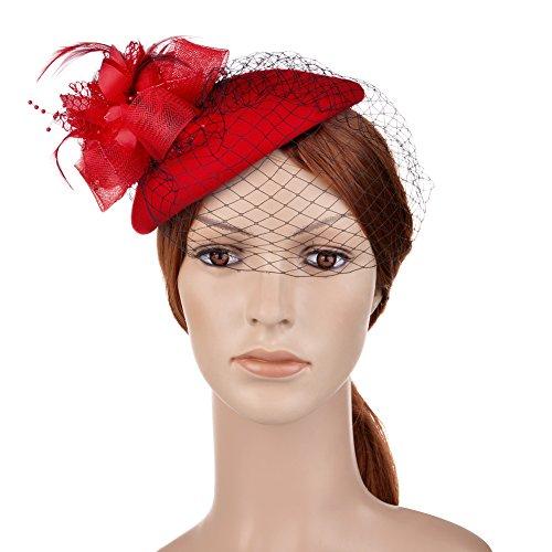 1378ca1e8c73 Vbiger Cappello Cerimonia Vintage Cappello Cilindro da Donna Elegante per  Matrimonio