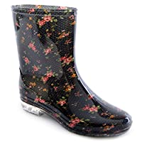 Mudrocks Womens/Ladies Footwear PVC Short Length Wellington Boots In Floral Print With Small Heel, Various Sizes