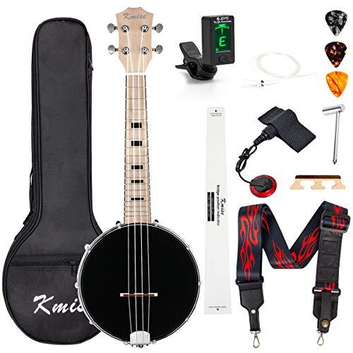 Kmise Banjolele Konzert-Banjo-Ukulele 4 Saiten 58,4 cm Banjos mit Gigbag Tuner Tonabnehmer Multifunktions Gurt Saiten Plektren Brücke Lineal Schlüssel (MI2701)