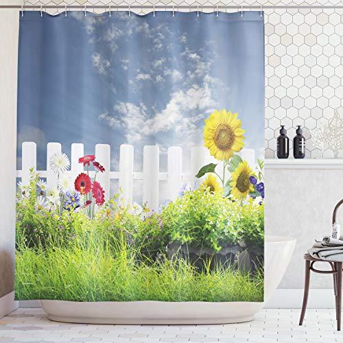 ABAKUHAUS Duschvorhang, Gras Laub Feld mit Sonnenblumen Gänseblümchen Natur Wolken Landschaft Digital Foto Druck, Blickdicht aus Stoff inkl. 12 Ringe für Das Badezimmer Waschbar, 175 X 200 cm -