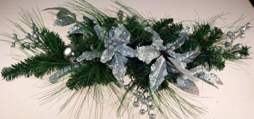 GW Silber Poinsettia Berry, 60cm, Weihnachten, Tisch-, Mantel-Dekoration (Berry Mantel)