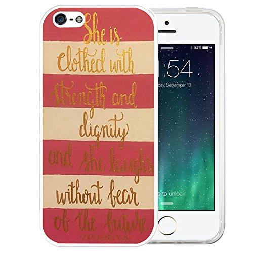 LAACO Schutzhülle für iPhone 5, 5S, SE, transparent, TPU, Gummi, Silikon, Zitat 31:25, Bibel-Goldstreifen