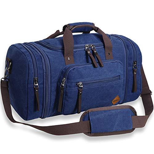 Ventcy Canvas Reisetasche Herren Damen Handgepäck Tasche Sporttasche Frauen Groß 40L Vintage Bag Reisetasche Handgepäck Männer Buisiness Faltbare Camping Life Cities Blue