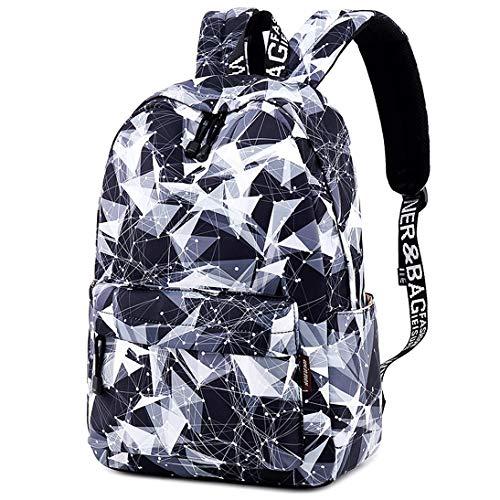 HASAGEI Rucksack Mädchen Schulranzen Schulrucksack Geometrisches Muster Schultaschen für Teenager Jungen (Geometrisch)