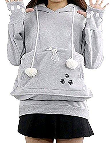 ShallGood Minetom Femme Automne Hiver Casual Sweat à Capuche Manches Longues avec Kangourou Chat Chien Poche Tops Sport Sweatshirt Hoodies B Gris FR 38